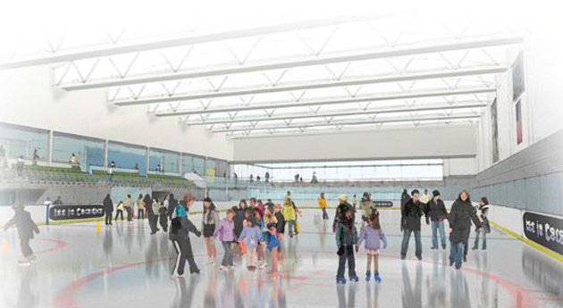 A conceptual rendering provides an interior view of the ice skating rink planned for Girsh Park in Goleta.