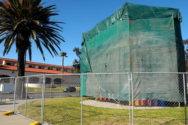 Cloaked in tarps, Santa Barbara's Chromatic Gate is about to undergo extensive repairs to restore the rainbow-colored arch to its original 1991 glory.