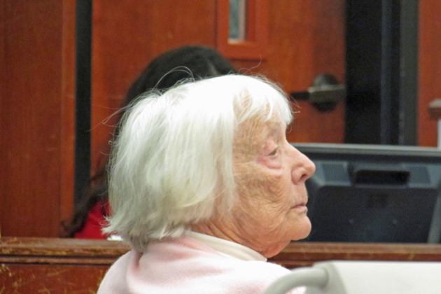 Marjorie Good sits in a Santa Barbara County Superior Court on Tuesday where the 90-year-old mother awaited the verdict in her trial for the alleged murder of her daughter, Solvang ALS patient Heidi Good.