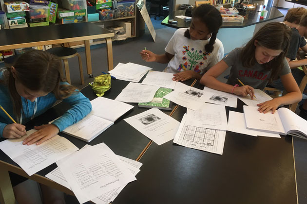 <p>Crane Country Day School students work on coral reef project.</p>