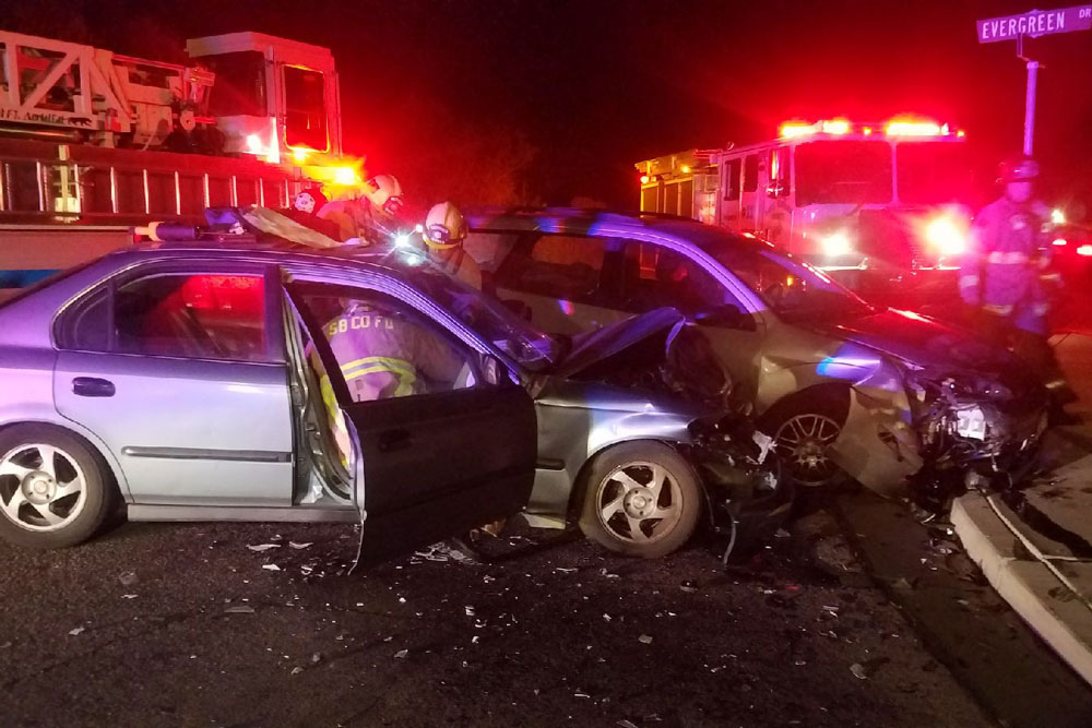 One person was injured Friday night in a head-on collision on Cathedral Oaks Road at Evergreen Drive in Goleta. The driver of one of the vehicles reportedly was arrested on DUI charges.