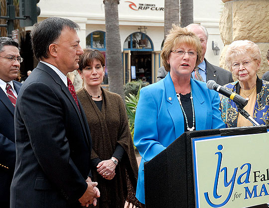Santa Barbara City Councilwoman Iya Falcone announced plans to run for mayor at a February news conference in Storke Placita. Among her supporters on hand were, from left, Supervisor Salud Carbajal, former Mayor Hal Conklin, Supervisor Janet Wolf, Goleta Councilman Michael Bennett and former Mayor Harriet Miller.