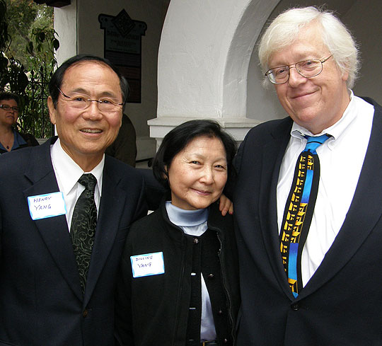 Among those attending Sunday's memorial service for UCSB anthropology professor Phil Walker were, from left, UCSB Chancellor Henry Yang and his wife, Dilling, and John Tooby, an anthropologist colleague of Walker's.
