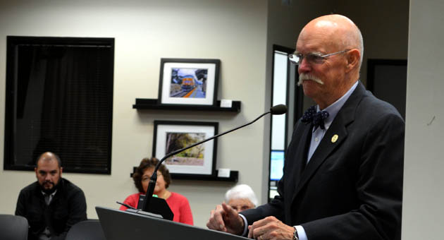 <p>Goleta City Councilman Ed Easton, seen at a December council meeting, is in the process of purchasing a new home just outside the city limits. If the sale goes through, he&#8217;ll have to give up his position. Easton was elected first in 2008 and re-elected in 2012.</p>