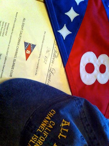 The All 8 Club hat, burgee and certificate. (Karen Telleen-Lawton / Noozhawk photo)
