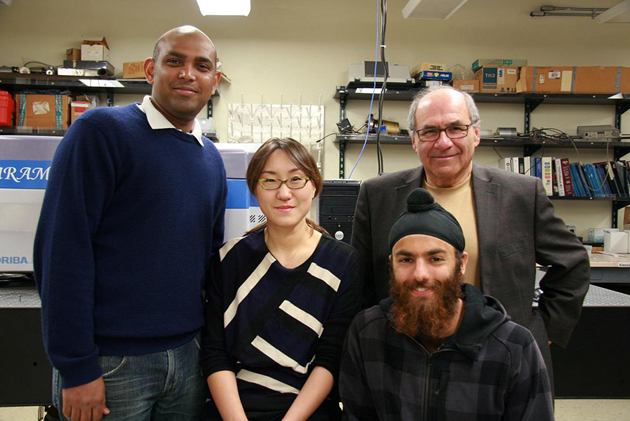 <p>The researchers behind the plasmonic water splitter are, from left, postdoctoral researchers Syed Mubeen and Joun Lee, professor Martin Moskovits and grad student Nirala Singh.</p>