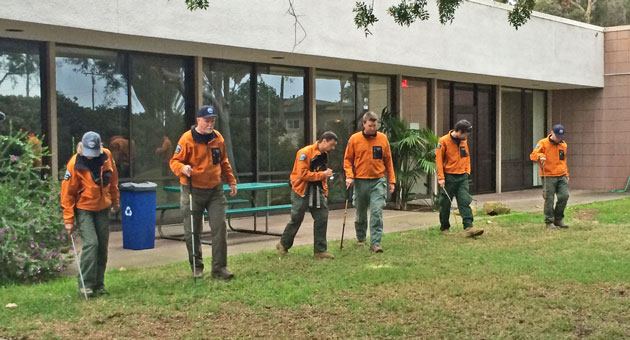<p>Members of the Santa Barbara County Search &amp; Rescue Team assist law enforcement Tuesday afternoon in searching for evidence in the weekend beating and gang rape of a 19-year-old UCSB student.</p>