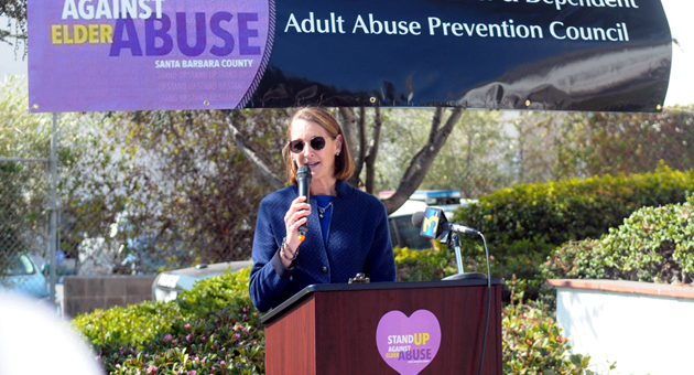 <p>Marion Schoneberger, formerly the director of business development at Visiting Nurse &amp; Hospice Care and whose own family has been affected by elder abuse, speaks at a news conference Tuesday sponsored by the Santa Barbara Elder and Dependent Adult Abuse Prevention Council.</p>