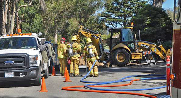 An estimated 28 homes were left without service Tuesday when a backhoe severed a natural-gas line at Butterfly Lane and High Road. (Montecito Fire Protection District photo)