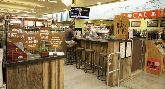 The Buzz Hive tasting area at the Santa Barbara Whole Foods store offers a unique meeting place for lovers of local brews, wines, and food pairings.