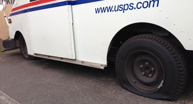 <p>Several U.S. Postal Service trucks were among those damaged early Wednesday in a tire-slashing spree in Solvang.</p>