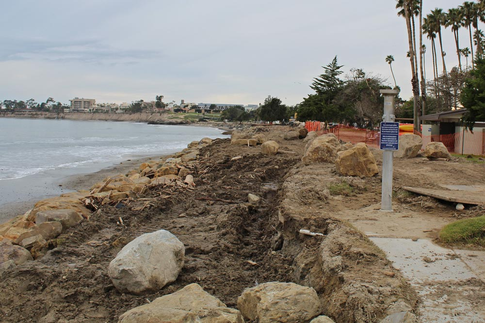 The past couple years' energetic waves have eaten away the shore at Goleta Beach Park. Turning back erosion there has been a constant battle for Santa Barbara County.