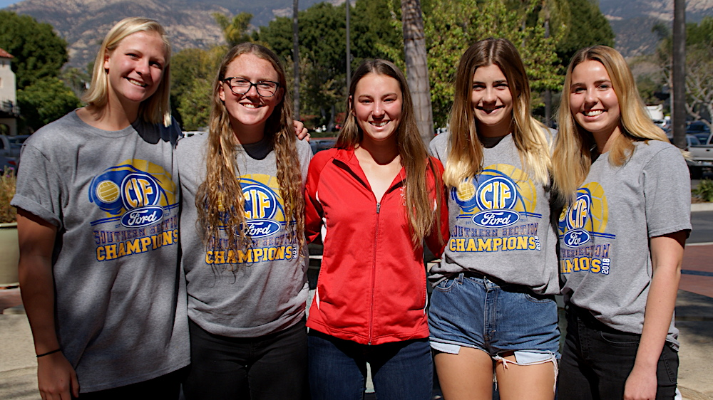 The San Marcos seniors end their prep water polo careers as CIF-SS champions. They are, from left: Piper Smith, Sarah Owens, Lili Rose Akin, Sophie Trumbull and Jaymie Stryker.