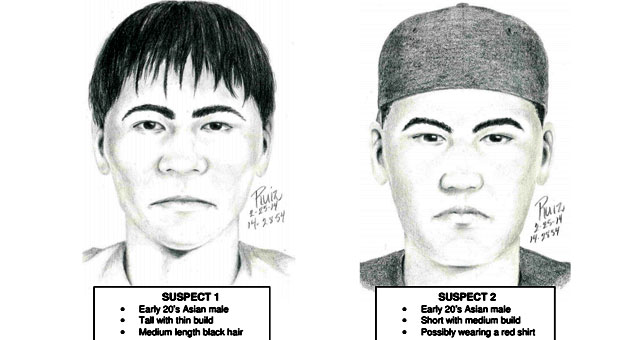 Do you know one or both of these men? Call UCSB police at 805.893.3446. (UCSB Police Department rendering)