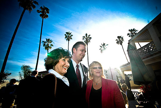 State Sen. Tony Strickland, R-Moorpark, pauses for a photo opportunity with well-wishers at reception held at his new Santa Barbara office.