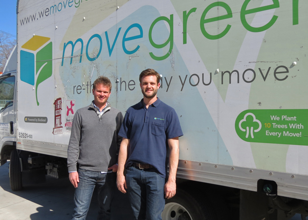 Erik Haney, left, and Patrick Wilkinson are in their fifth year together in the moving business with Move Green, a local, eco-friendly rental option based in Goleta. (Gina Potthoff / Noozhawk photo)
