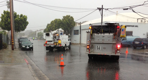 <p>Firefighters and utility crews responded Friday to power lines down on Cacique Street on Santa Barbara&#8217;s Eastside. Power was reported out in much of the area.</p>