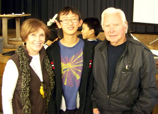 <p>Rotary Club of Goleta members Lynn Cederquest, left, and Pat O&#8217;Malley with La Colina Junior High School student Pat O&#8217;Malley.</p>