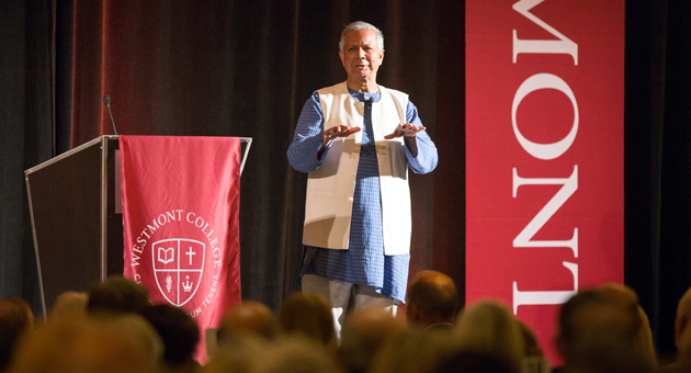 <p>Microfinance pioneer Muhammad Yunus speaks last Friday at the ninth annual Westmont President&#8217;s Breakfast at Fess Parker&#8217;s DoubleTree Resort.</p>
