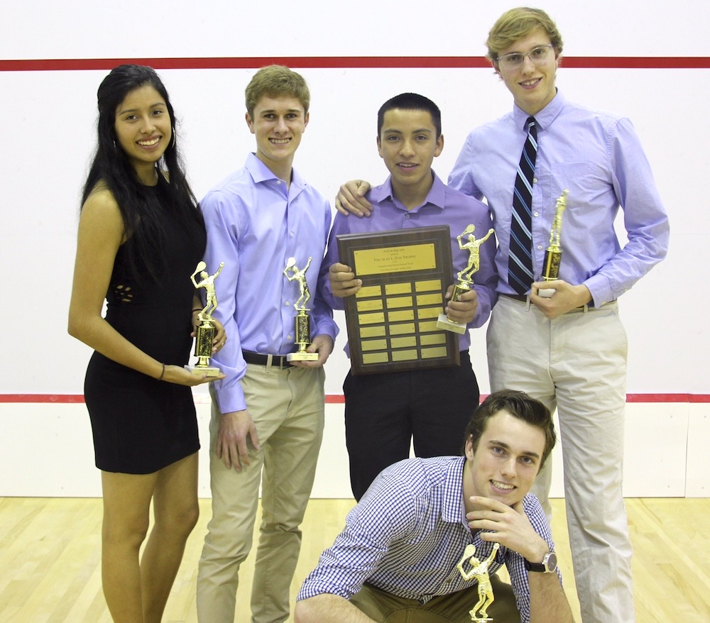 The Santa Barbara Athletic Club's squash team won the Southern California High School Championship for the fourth straight year. The team members are, from left: Zaira Paredes (team captain), Clay Rodgers, Sebastian Paredes, Jason Feinberg and Dillon Miller (in front). Sebastian Paredes (holding plaque), won the individual title.