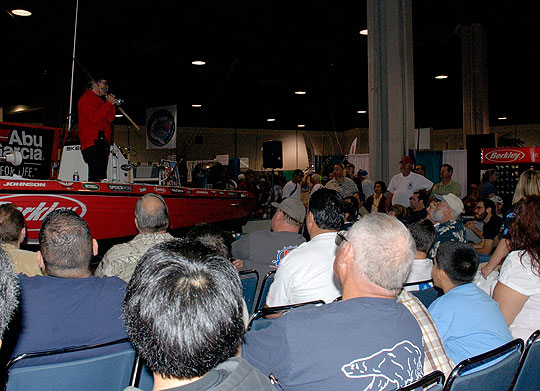 Capt. David Bacon reels in his audience during a fishing seminar in the Berkley booth at last year's Fred Hall Show in Long Beach.