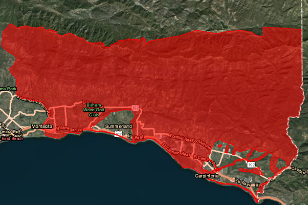 Santa Barbara County Sheriff's Department issued mandatory evacuation orders Thursday for areas, in red, from Santa Barbara to Carpinteria below the Thomas Fire burn area. The coming storm is predicted to have potential to cause mud and debris flows, officials said.