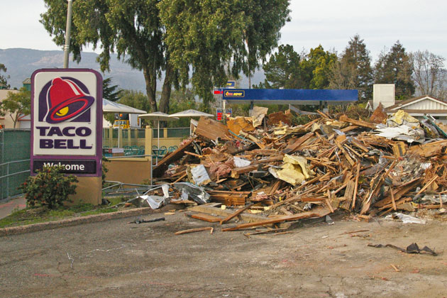 The Fairview Avenue Taco Bell in Goleta was demolished to make way for a new, modern building to house the restaurant.