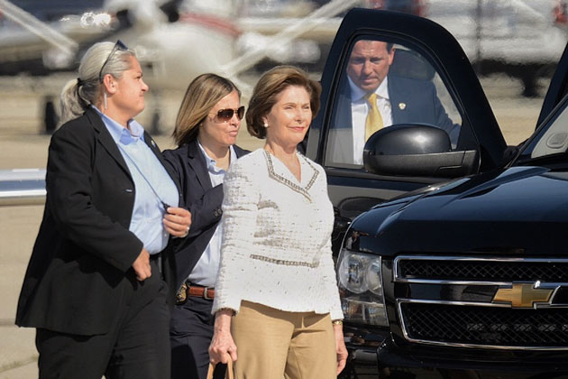 Former First Lady Laura Bush arrives Wednesday at the Santa Barbara Airport. She was scheduled to give the keynote speech later in the day to a conference of discount grocers at the Bacara Resort and Spa in Goleta.