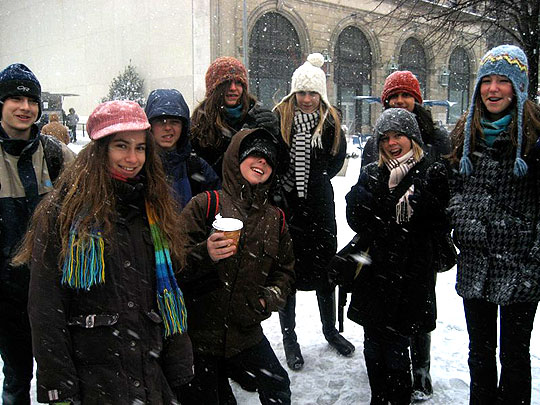 Santa Barbara Montessori School students go with the snow during their trip to New York for the Montessori Model United Nations program. After meeting with world leaders, the class will travel to Washington, D.C., to meet with a national one who's more of a local, Rep. Lois Capps, D-Santa Barbara.