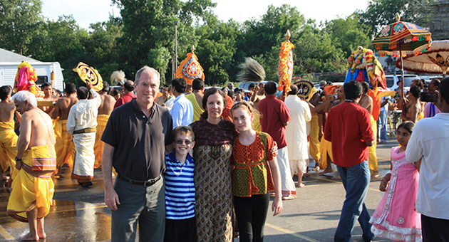 <p>Dr. Tracy Pintchman visits the Parashakthi Temple in Pontiac, Mich., last July with husband Dr. William French, son Noah French and daughter Molly French. Dr. Pintchman is writing a book about the temple.</p>