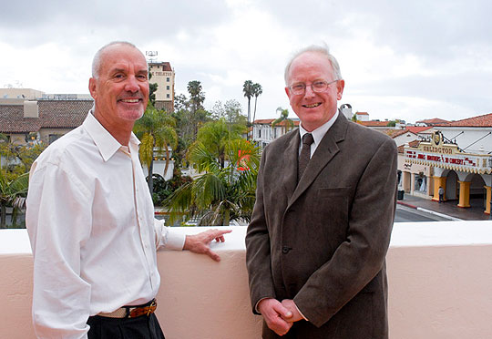 For Tom Parker, left, president of the Hutton Foundation, and Santa Barbara Chamber Orchestra general manager Daniel Kepl, there's a bigger picture to having many of the community's performing arts organizations housed in one building. In addition to the collaborative possibilities, two of Santa Barbara's marquee venues — the Arlington and Granada theaters — are steps away from the new arts heaquarters at 1330 State St.