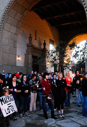 Wednesday's vigil was one of many such gatherings in California called to oppose Prop. 8.