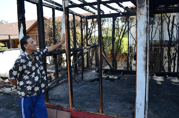 Santa Barbara artist and SBCC lecturer Manuel Unzueta lost 50 years of paintings and other work after a fire last week destroyed his backyard studio. (Giana Magnoli / Noozhawk photo)