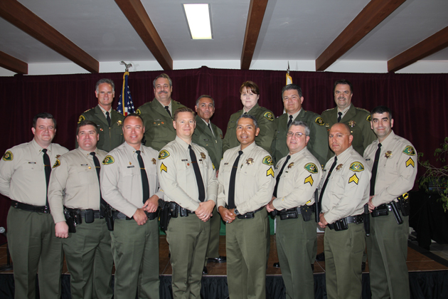 Twelve Santa Barbara County sheriff's personnel were promoted Monday. Top Row, from left, Undersheriff Jim Peterson, Commander Solomon Linver, Chief Deputy Lazaro Salinas, Commander Julie McCammon, Commander Eric Koopmans, and Sheriff Bill Brown; bottom Row, from left, Lt. Jeffrey Warren, Lt.  Craig Bonner, Lieutenant Robert Plastino, Sgt. Garrett Te Slaa, Sgt. Daniel Calderon, Sgt. Ronald Phillips, Sgt. Richard Brittingham, and Sgt. Frank Vasquez. (Sheriff's Department photo)