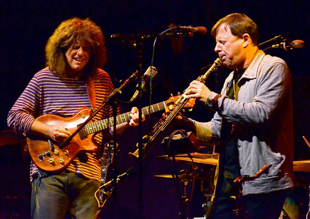 <p>Jazz guitarist Pat Metheny, left, and his Unity Band perform last Thursday night at the Lobero Theatre in Santa Barbara.</p>