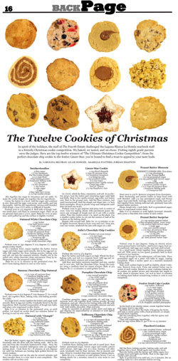 The Twelve Cookies of Christmas by Laguna Blanca's Fourth Estate student newspaper will be featured in Best of the High School Press