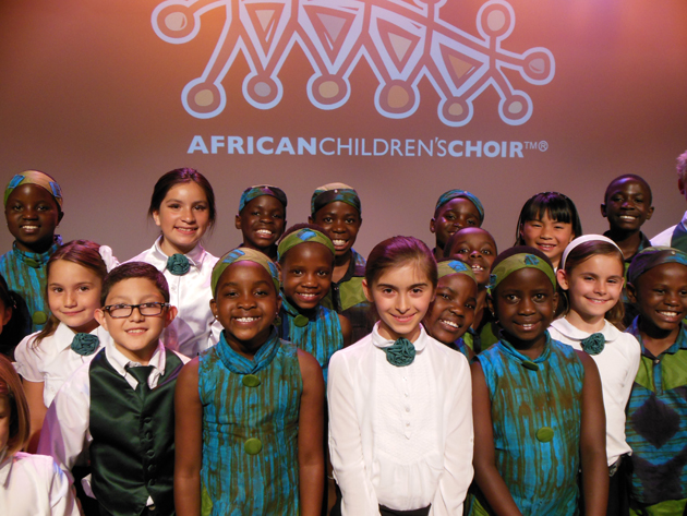 <p>Members of the Santa Barbara Children Choir and the African Children&#8217;s Choir stand united after performing Friday at UCSB&#8217;s Campbell Hall for the Arts &amp; Lectures Winter Festival.</p>