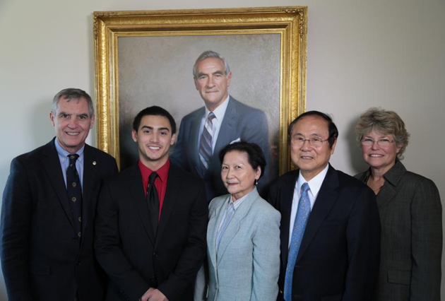 <p>From left, Bill Cheadle, Joey Cheadle, Dilling Yang, UCSB Chancellor Henry Yang and Jennifer Thorsch of the Center for Biodiversity and Ecological Restoration, with a portrait of Vernon Cheadle.</p>