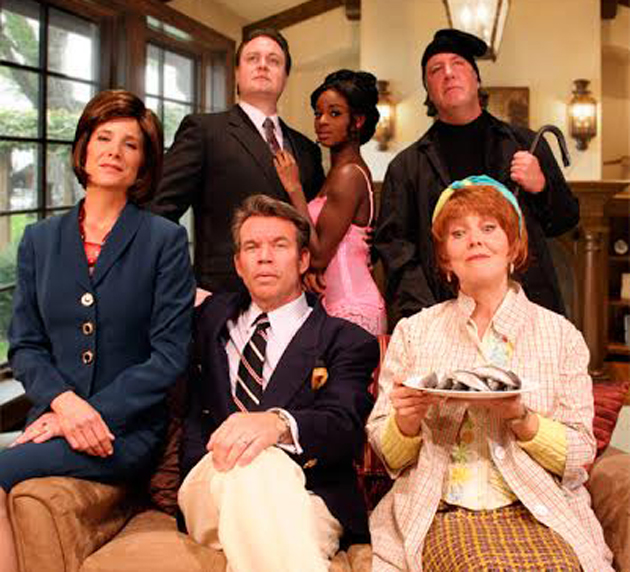 <p>Polly Firestone Walker, Sean Jackson, Janina Mason, Jon Koons, Raymond Wallenthin and Ann Dusenberry star in SBCC Theatre Group&#8217;s production of <em>Noises Off</em>.</p>