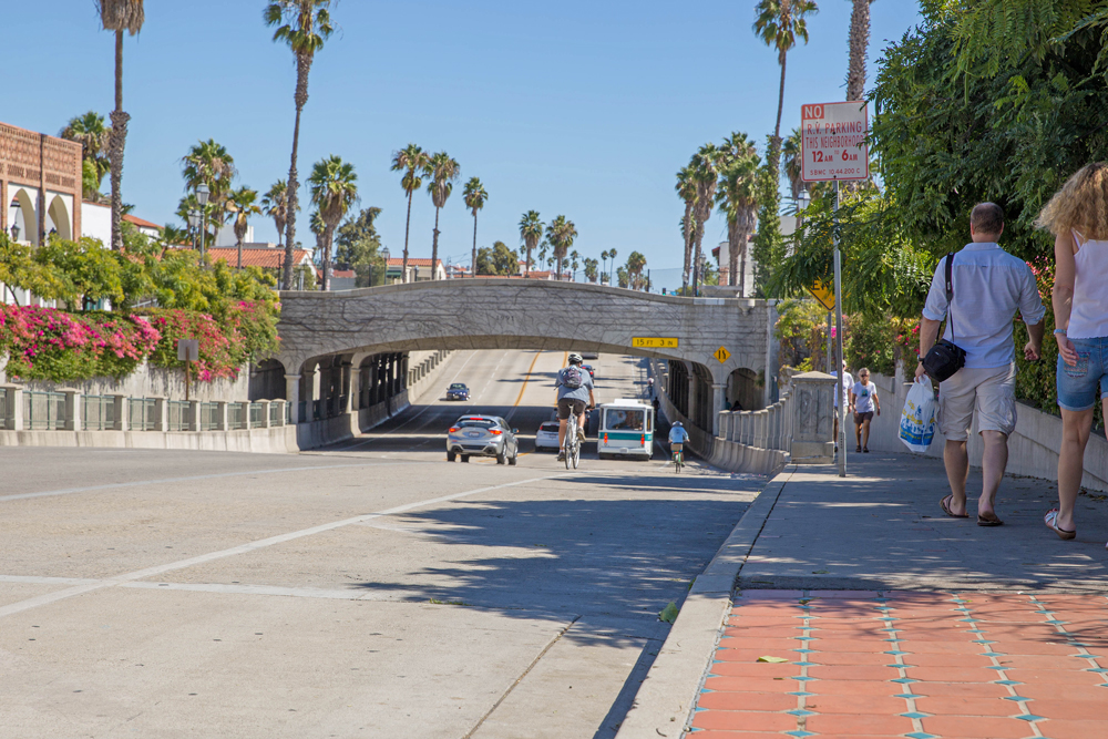 The Santa Barbara City Council will consider moving forward with a project to widen sidewalks and add buffered bike lanes on State Street under Highway 101.