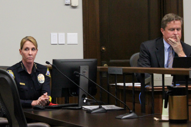 Santa Barbara Police Chief Lori Luhnow, seen with City Manager Paul Casey.