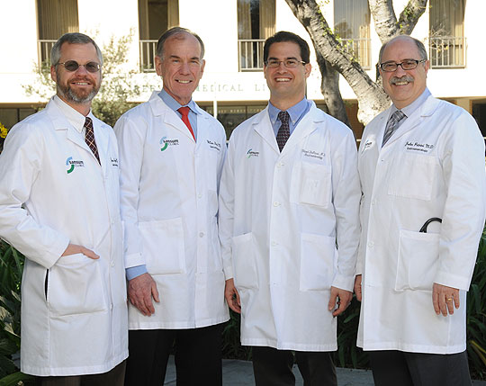 The stars of Sansum Clinic's Gasteroentrology and Endoscopy Department are, from left, Drs. James Egan, William Hahn, Vincent Derosa and John Petrini. Dr. John Hobson is not pictured.