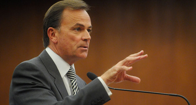 <p>Developer Rick Caruso addresses the Santa Barbara County Board of Supervisors last month about funding for the Miramar Hotel project slated for South Jameson Lane in Montecito.</p>