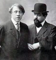 Composer André Caplet, left, with his famous friend and burden, Claude Debussy.