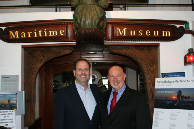 Steve Epstein, president of the Santa Barbara Maritime Museum's Board of Directors, and executive director Greg Gorga welcome guests to the Ninth Annual Harbor Treasures and Tastings fundraiser.