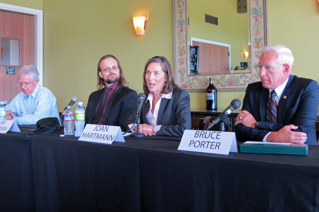 Candidates for the Third District Santa Barbara County supervisor election gathered for a forum Wednesday at the Glen Annie Golf Club. From left: Bob Field, Jay Freeman, Joan Hartmann and Bruce Porter.
