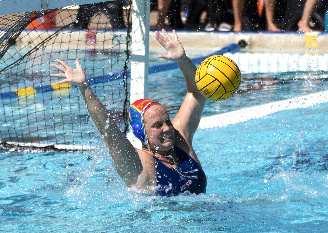 e7aea6464e UCSB goalie Kenzi Snyder makes one of her 13 saves during the Gauchos' 6-5  win over UC Irvine in the Big West opener. (JC Corliss / Noozhawk photo)