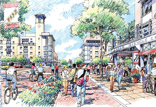 Under UCSB's Long-Range Development Plan, the campus entrance from Pardall Road is a bustling community.