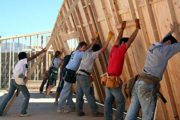 <p>Westmont College students work together on construction projects in Ensenada during spring break.</p>
