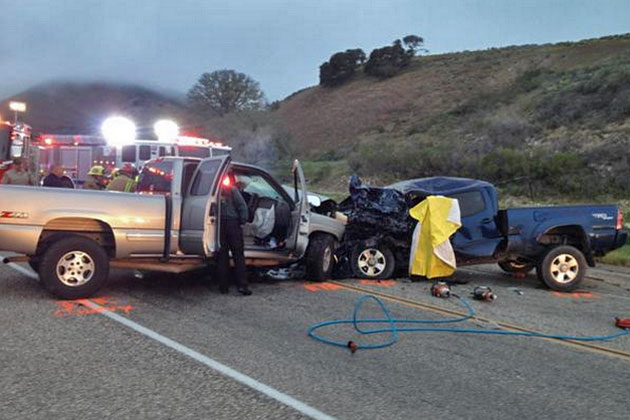 What's left of two pickup trucks after a head-on collision on Highway 1 near Jalama Road. One driver died in the crash, the other was hospitalized with major injuries. (Rick Joyner / Santa Barbara County Fire Department photo)